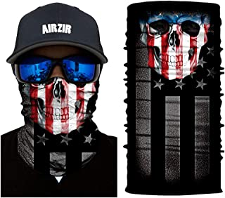 Airzir Skull Face Mask Premium Breathable Seamless Tube Motorcycle Face Mask Wind Dust UV Protection Moisture Wicking Microfiber Face Mask for Motorcycle Riding Cycling Hiking Climbing (Flag-864)