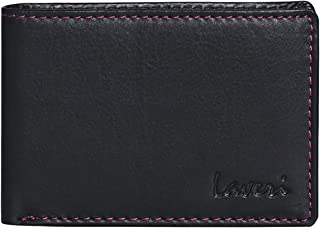Laveri Bifold Wallet for Men - Leather, Black and Pink