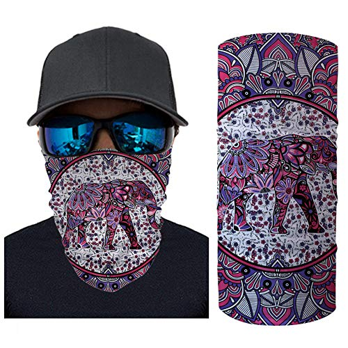 ECONG Elephant Color Printing Bandana Multifonction Guêtres de Cou Écharpe sans Couture Gaiter Neck Rapide Écharpe Salive Dust UV Outdoor Cycling Camping Randonnée