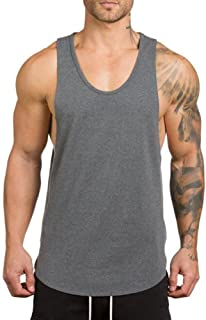 ZUEVI Men's Muscular Cut Open Sides Tank Tops Bodybuilding T-Shirts