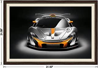 McLaren P1 GTR Design Concept (2014) Framed Car Art Poster Print Black/Orange Front Studio View in Dark Walnut Frame, 1