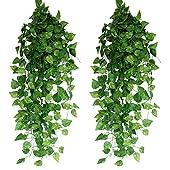 造花グリーン 人工観葉植物 フェイクグリーン 24本入り【Xiaz】造花藤 緑 葉 壁掛け 吊りのインテリア飾り人工植物 アイビー 枯れないグリーン