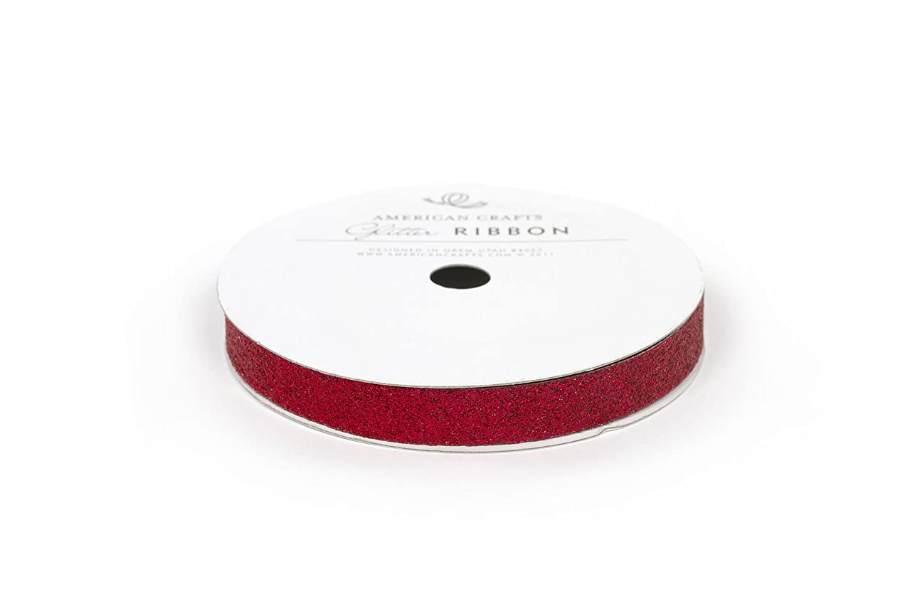 American Crafts Solid Glitter Ribbon, 3/8-Inch, Rouge