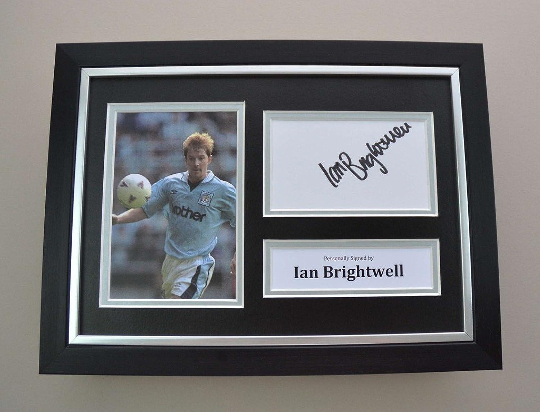 Ian Brightwell Signed A4 Photo Framed Man City Memorabilia Autograph Display COA