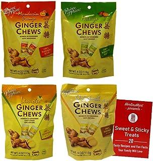 Prince of Peace Natural Ginger Chews 4 Flavor Variety - (1) each: Mandarin Orange, Mango, Lemon, Original (4 Ounces) - Plu...