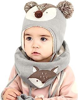 DORRISO Bambini Cappello Sciarpe Guanti Set Autunno Invernale PrimaveraCarina Piccolo Volpe Beanie Cappelli Berretto Bambi...