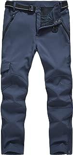 TBMPOY Men's Hiking Cargo Pants Outdoor Waterproof Windproof Softshell Fleece Snow Pants with Zipper Pockets