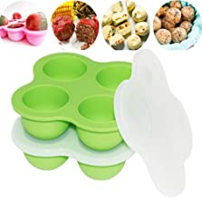 4 Cups Silicone Egg Bites Molds with Lid for Instant Pot Accessories Baby Food Freezer Tray Reusable Storage Container Dishwasher Safety Sunsign Green(2 Pack)