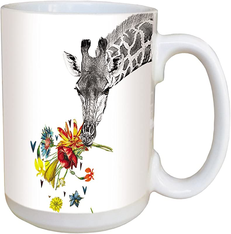 Tree Free Greetings LM46865 Checking In Giraffe 15 Ounce Ceramic Coffee Mug With Full Sized Handle