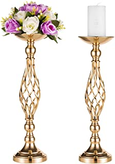 Pcs of 2 Tall Metal Vase for Wedding Centerpieces Decoration-Artificial Flower Arrangement-Pillar Candle Holder Stand Set for Wedding Party Dinner Event Centerpiece Home Decor (2x20.5