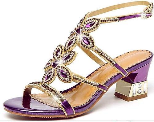 DDSHYNH Sandales à à Diamants en Cristal bohémien, Chaussures de Plage Hautes en Sable antidérapantes pour Femmes en Cuir d'été,violet,EUR36  commander en ligne