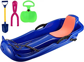 Snow Sleds for Kids, Toboggans Sledges,Snow Grass Sledge Sliding Board,with 2 Handles And Pull Ropes, for Outdoor Winter S...