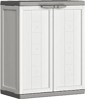 KETER | Armoire basse JOLLY , Blanc-Gris, 68 x 39 x 85 cm, Plastique