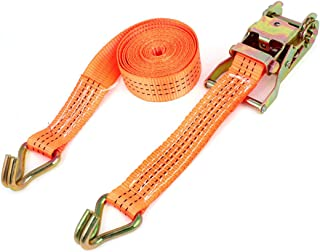 Aexit Luggage Cargo Rigging Binding Metal J Hooks Ratchet Tie Down Strap 3.5M Turnbuckles 11ft Orange