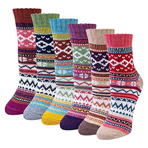 Chalier 6 Paar Merino Socken Damen Winter Wollsocken Stricksocken Warme Dicke Thermosocken Kuschelsocken Bunte Atmungsaktive Socken Damen, Einheitsgröße 36-42