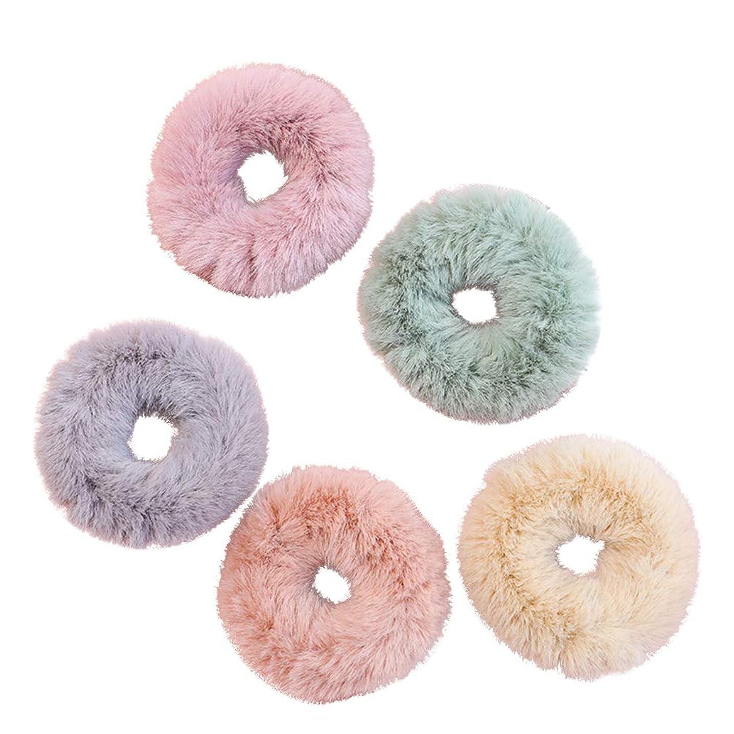 寄付スケルトン楽しむLURROSE 5ピース毛皮ホルダーウサギの毛皮のどの毛バンドロープヘアリングヘアアクセサリー