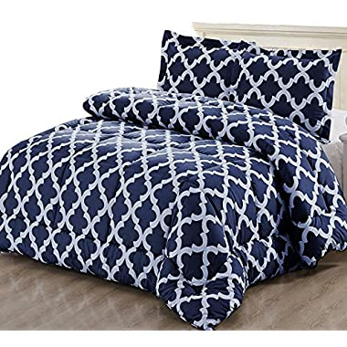 Utopia Bedding Printed Comforter Set (Queen, Navy) with 2 Pillow Shams - Luxurious Soft Brushed Microfiber - Goose Down Alternative Comforter by