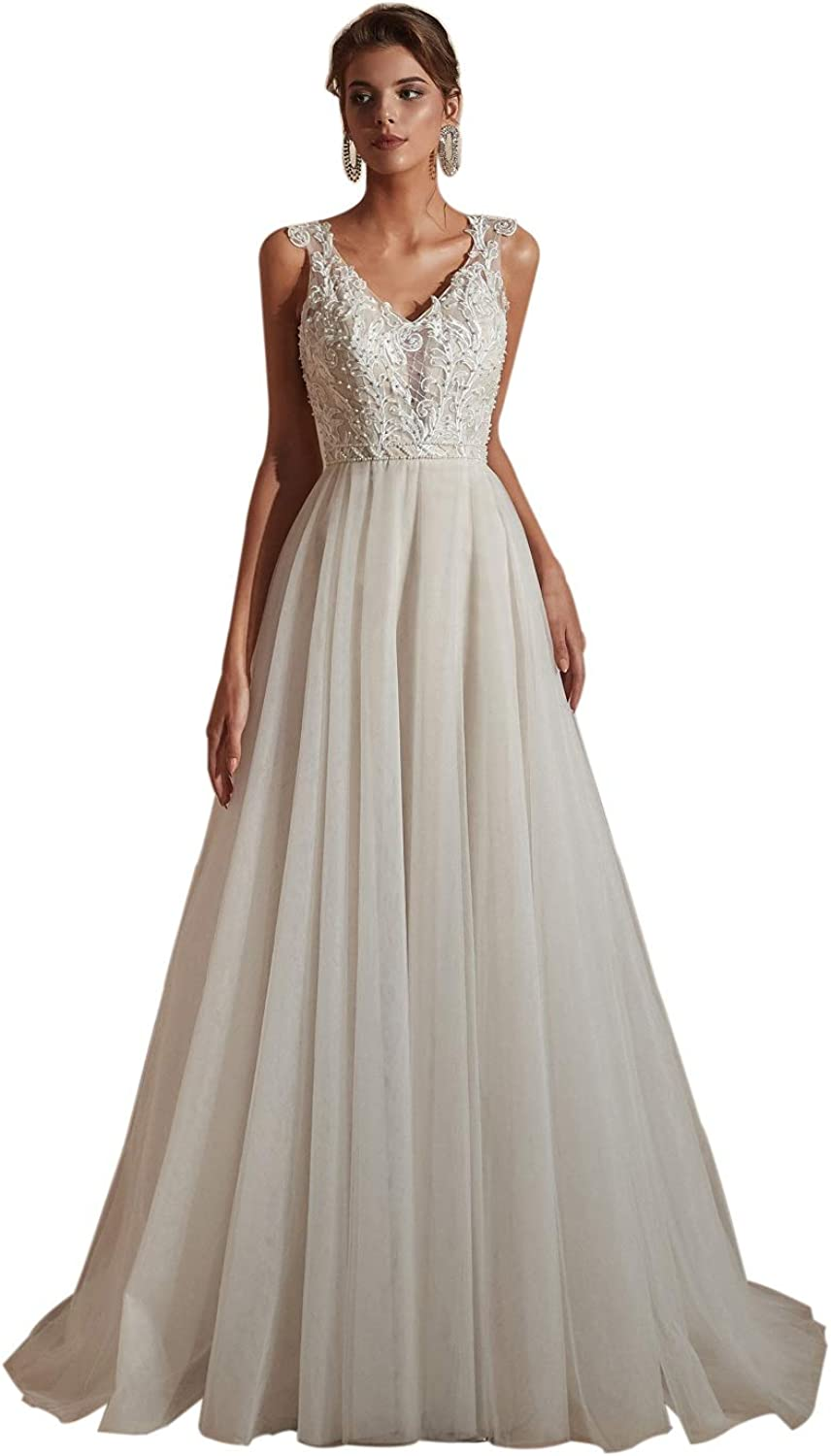 Leyidress Beach Wedding Dresses Lace A line V Neck Bridal Gowns Ivory Long Tulle Dress for Beach Weddings