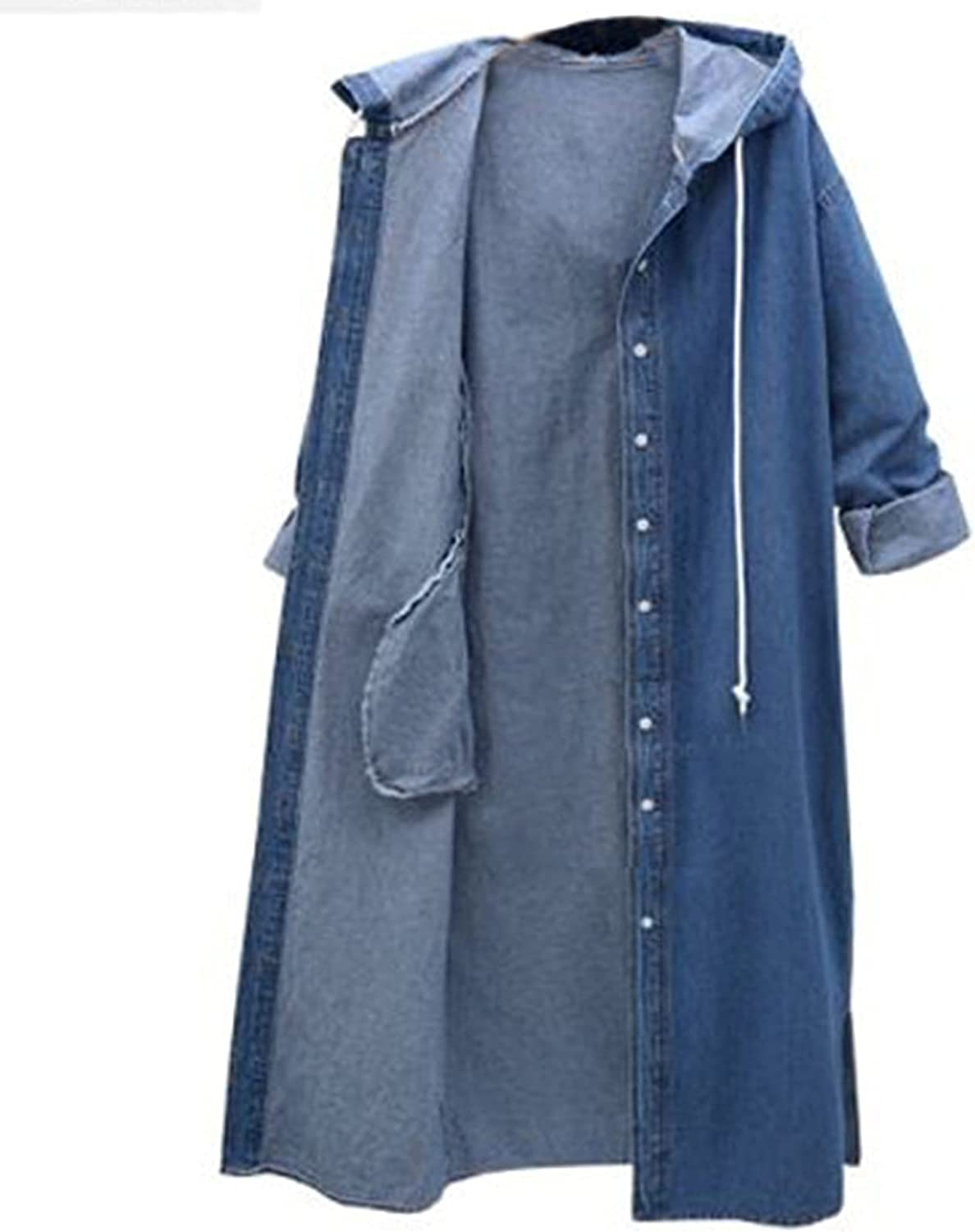 Forng Denim Jacket for Women Drawstring Hoodie Long Windbreaker Coat Fashion Casual Outerwear with Pocket 2021