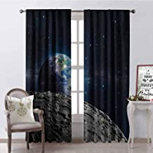 Galaxy Wear-Resistant Color Curtain View of Earth from Moon Surface Lunar Satellite Spacewatch Tracking Project Waterproof Fabric W84 x G84 Inch Grey Dark Blue