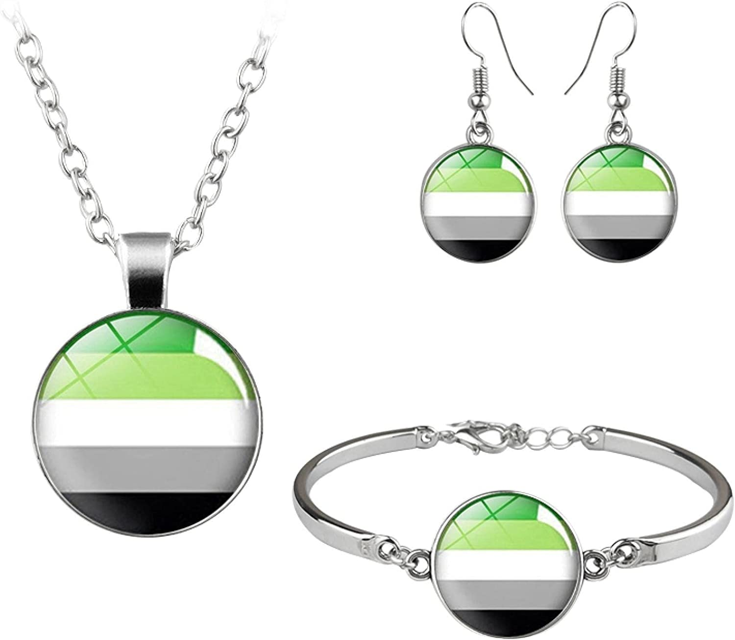 LGBT Jewelry Set Rainbow Flag Gay Lesbian Bisexual Transgender Glass Dome Necklace Bracelet Earrings Gift