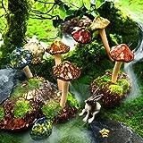 Patelai 8 Stücke Keramik Pilz Figur Garten Keramik Pilz Statue Garten Topf Dekoration Rasen Ornamente für Outdoor