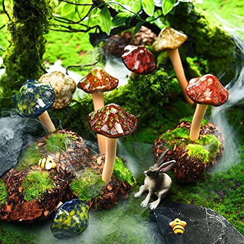8 Stücke Keramik Pilz Figur Garten Keramik Pilz Statue Garten Topf Dekoration Rasen Ornamente für Outdoor