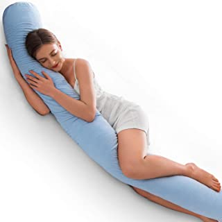 NOFFA Almohada de cuerpo entero, almohada larga de embarazo con espuma viscoelástica triturada, soporte para espalda, caderas, piernas, vientre (200 x 20 x 20 cm)