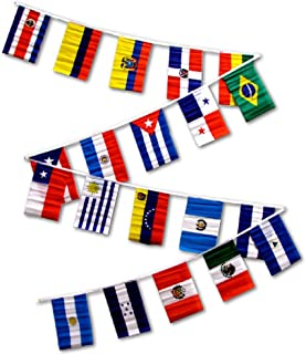AES 12x18 Latin American Country Bunting Flags Banner (20 Flags)