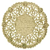 8' Gold Foil Doily 50 Count Table Setting Decor Arts and Crafts Durable Disposable Coaster