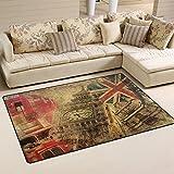 Mnsruu - Alfombra vintage de Londres Big Ben Union Jack para el suelo antideslizante, para salón, dormitorio, 100 x 150 cm