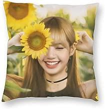 SSG One Street Velvet Soft Luxury Farmhouse Square Throw Pillowcases Housewarming Gifts, Blackpink Thai Rapper Lalisa Manoban Sunflower Fanart Removable Cushion Case for Outdoor Bedroom