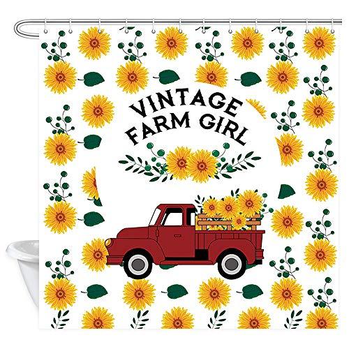 DYNH Vintage Farm Sonnenblumen-Duschvorhang, Vintage Bauernhof Mädchen Bauernhof rot LKW mit Sonnenblumen Badezimmer-Vorhänge, Stoff Dusche Badezimmer Zubehör 12 Stück Haken, 177,8 x 177,8 cm