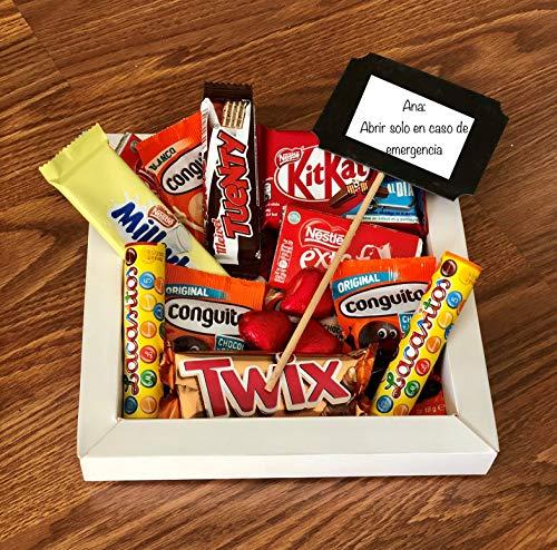 Caja de chocolates con mensaje personalizado