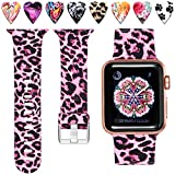 Laffav Compatible with Apple Watch Band 40mm 38mm iWatch SE & Series 6 & Series 5 4 3 2 1 for Women Men, Sexy Leopard, M/L