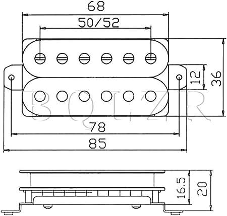 Yibuy ラージポールピースハムバッカーセット / Yibuy 2個入れ ブラック ハムバッカーピックアップ 二重コイル エレキギターのため 金属+マグネット