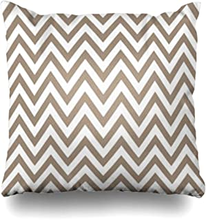 InterestDecor Throw Pillow Covers Pillowcase Chevron Beige Baby Brown Simple Abstract Zig Birthday Color Creative Geometric Graphic Zippered Square Size 18 x 18 Inches Cushion Case