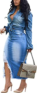 Women's Lapel Button Ripped Distressed Holes Bodycon Sexy Nightclub Party Denim Dress