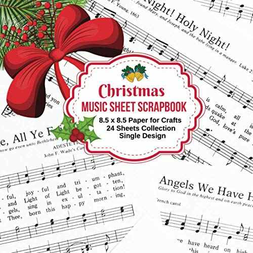Christmas Music Sheet Scrapbook Paper: 24 Sheets Craft Pad for Holiday Scrapbooking Supplies