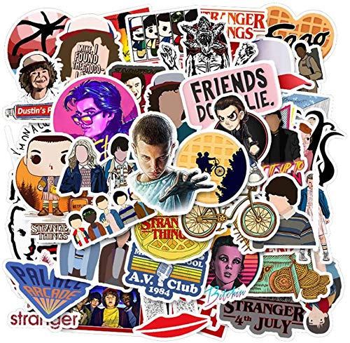 CEREALY Stranger Things Themed Stickers, Set of 50 PVC Waterproof Cartoon Sticker Decal Set for Scrapbooking Wall Guitar Stickers(50pcs)