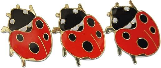 Novel Merk 3-Piece Ladybug Lady Bug Pride Lapel Pin Hat Pin & Tie Tack Set with Clutch Back