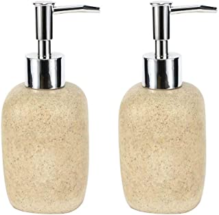 JYXR HOME&LIVING Soap Dispensers,Refillable Liquid Soap Dispenser Pump Bottle, Sandstone Pump Bottles for Bathroom,Kitchen - Holds Hand Soap, Dish Soap, Hand Sanitizer, Essential Oils/Beige(2 Pack)