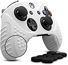 Cybcamo Silicone Skin Cover Grip Set for Xbox One X & One S Controller, Anti-Slip Protector Case for Microsoft Xbox 1 Controller with 8 Thumbstick Caps (White)