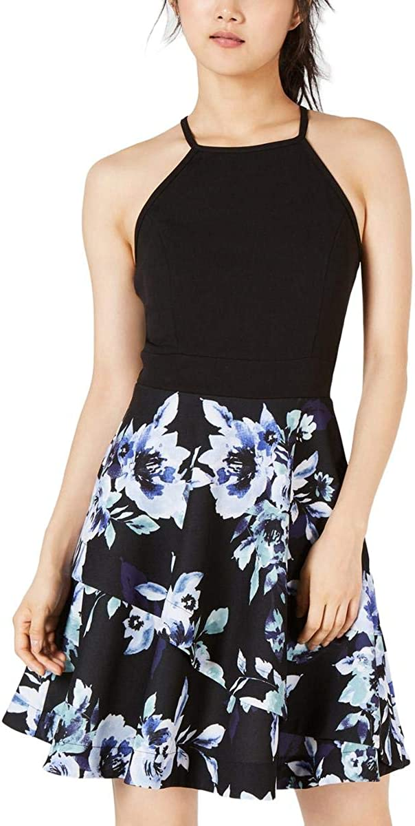Speechless Women's Junior's Teen Fit & Flare Dress with Layered Skirt