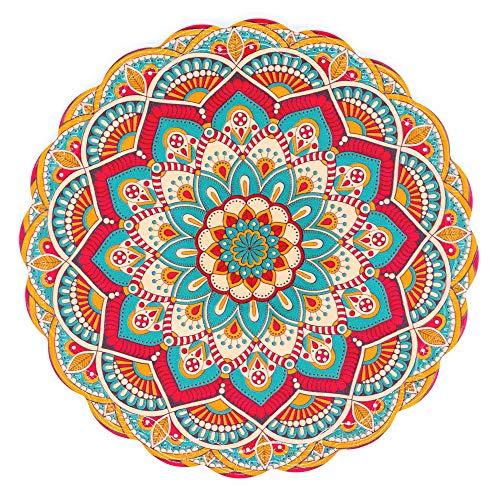 BOHORIA® Premium Design Topfuntersetzer – Dekorative Untersetzer für Vasen, Töpfe, Karaffen und Flaschen auf ihrem Esstisch aus Holz, Glas oder Stein (rund | 20cm) (Mandala Edition) (Holi)