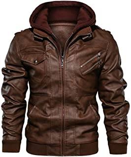 UJUNAOR Men Coat Parka Jacket Genuine Leather Jumper Winter Warm Print Faux Fur Fluffy Jumpers Fashion Solid Hooded Outerw...