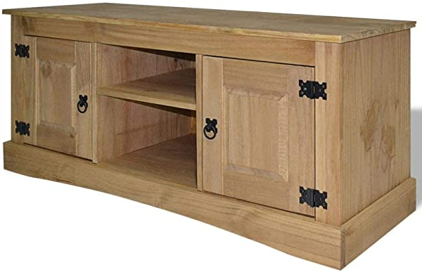 Daonanba Console Table TV Stand Storage Cabinet Sideboard Solid Pinewood