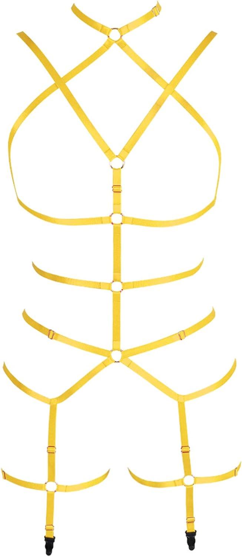 Full Body Harness Bra Women's Lingerie Set Punk Gothic Garter Festival Rave Dance Apparel Plus Size Belt Stretchy Fabric