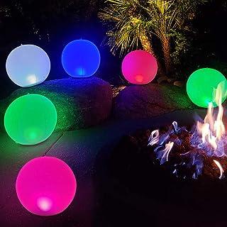 "Bola de luces LED inflables de noche Carga USB de 5V,Lámpara de Globo Brillante Colorida de 14"" Recargable,Luces Cambiantes de Color,Luz de Piscina Flotante Impermeable IP68 para el Hogar,Jardín 1Pcs"