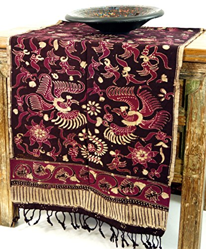 Guru-Shop Batik Tafelloper, Hangend aan de Muur uit Indonesië - Ontwerp 5, Rood, Katoen, 170x50 cm, Tafellopers en Tafelkleden